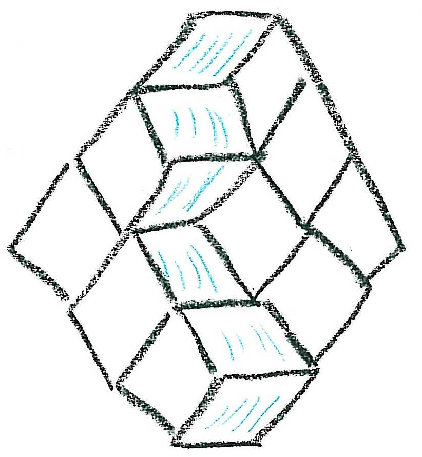 One of the 6!/3!3! tilings of this hexagon