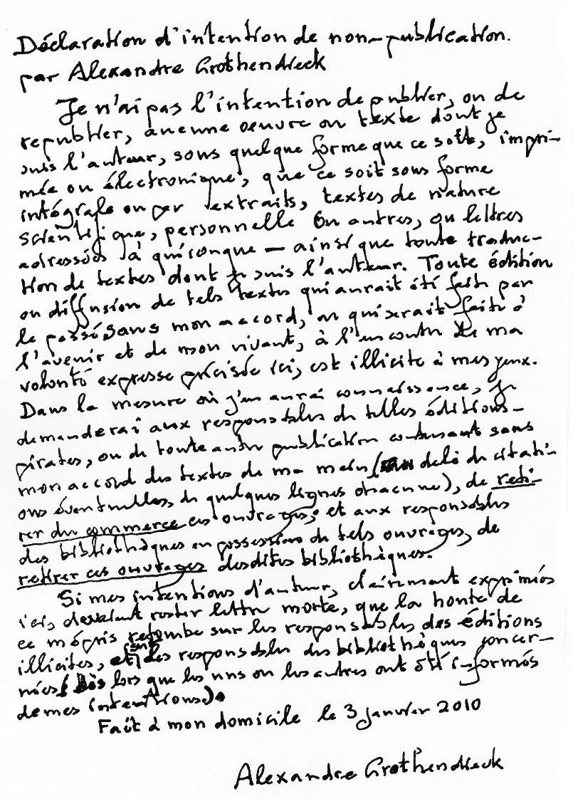 GrothendieckS Letter  Secret Blogging Seminar